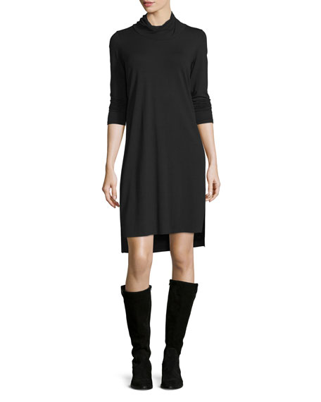 Eileen Fisher Twisted-Neck High-Low Jersey Dress