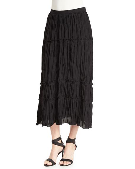 Elizabeth and James Crue Tiered Midi Skirt, Black