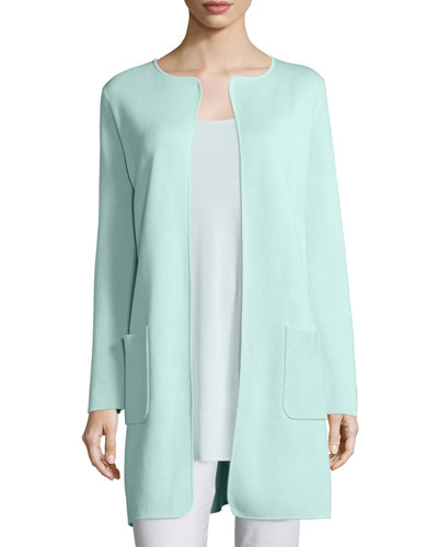 Silk Cotton Interlock Long Jacket, Green Mint, Women's