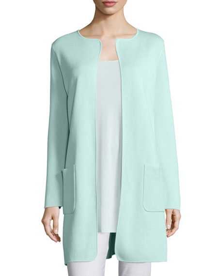 Eileen Fisher Silk Cotton Interlock Long Jacket, Green