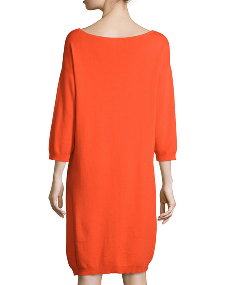 3/4-Sleeve Cotton Dress, Petite
