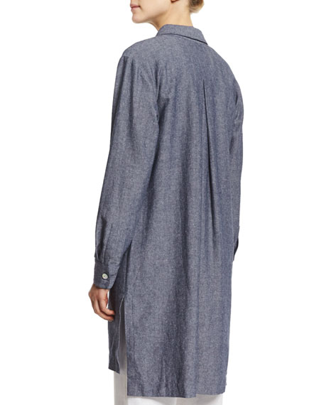 Long-Sleeve Cross-Dye Linen Duster Jacket