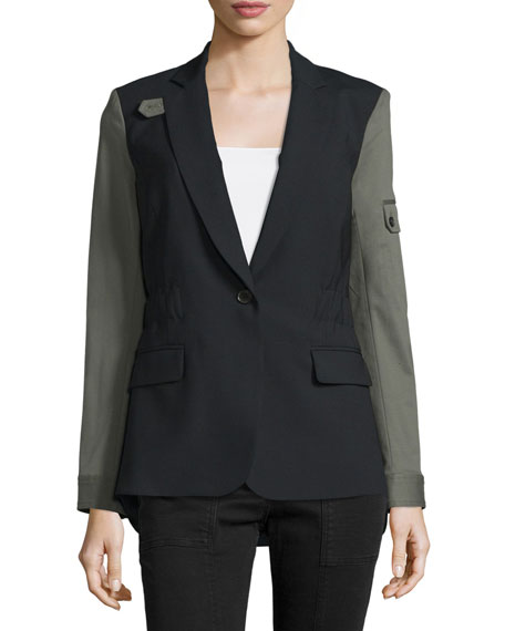 Veronica Beard Colorblock Wool-Blend Jacket, Black/Army
