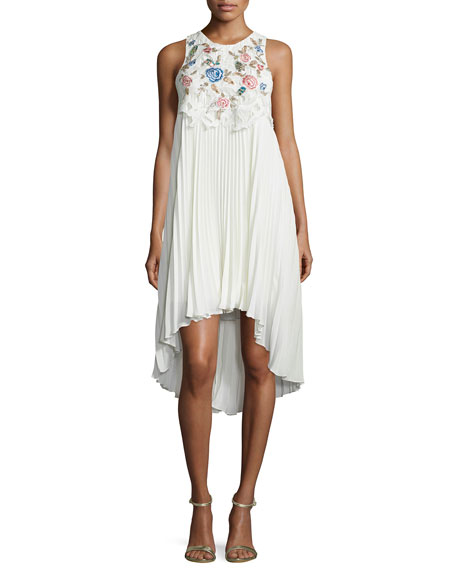 Embroidered-Front Sleeveless Cocktail Dress, Ivory