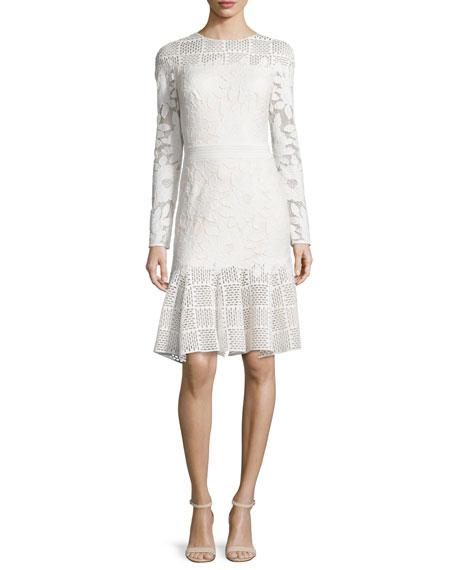 Tadashi Shoji Long-Sleeve Mixed-Media Dress, Ivory/Primrose