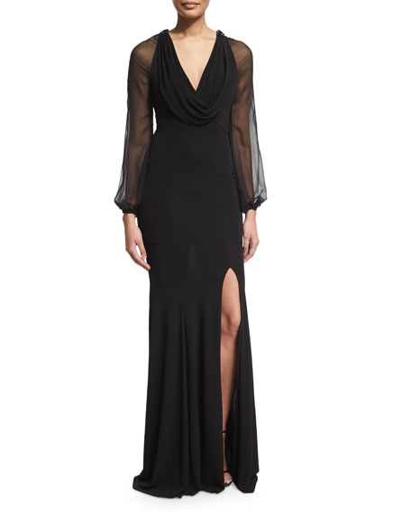 NM EXCLUSIVE David Meister Cap-Sleeve Beaded-Front Godet Gown