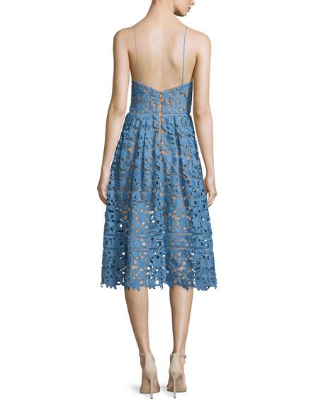 Self-Portrait Azaelea Guipure-Lace Illusion Dress, Blue