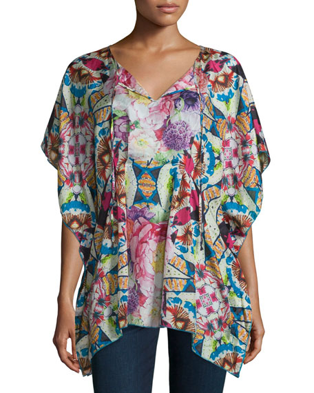 Johnny Was Collection Short-Sleeve Floral-Print Silk Poncho