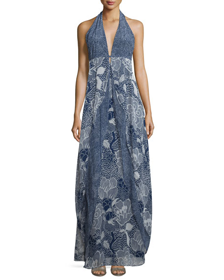 Fantasia Dream Dot Silk Halter Gown, Midnight