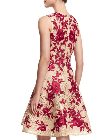 Embroidered Fit-&-Flare Dress, Natural/Red