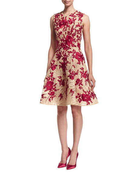 Naeem Khan Embroidered Fit-&-Flare Dress, Natural/Red ...