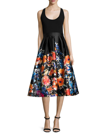 Carmen Marc Valvo Sleeveless Combo Floral Midi Cocktail