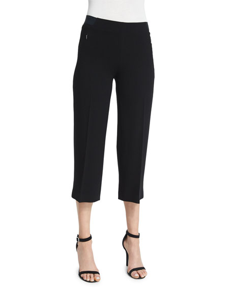 Elie Tahari Alba Slim-Leg Cropped Pants, Black
