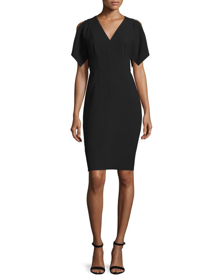 Elie Tahari Lourdes Short-Sleeve Sheath Dress, Black