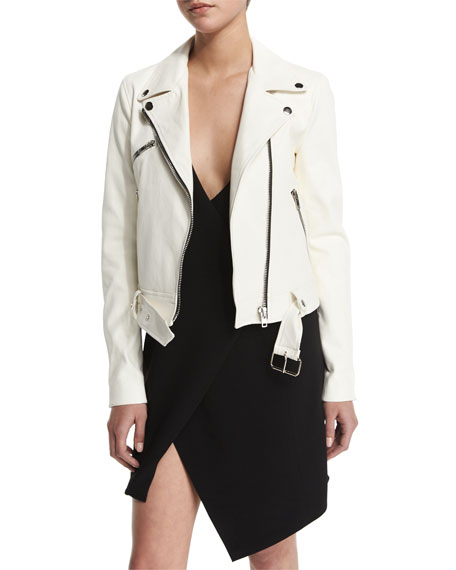 Kendall + Kylie Belted Zip-Front Leather Jacket, White