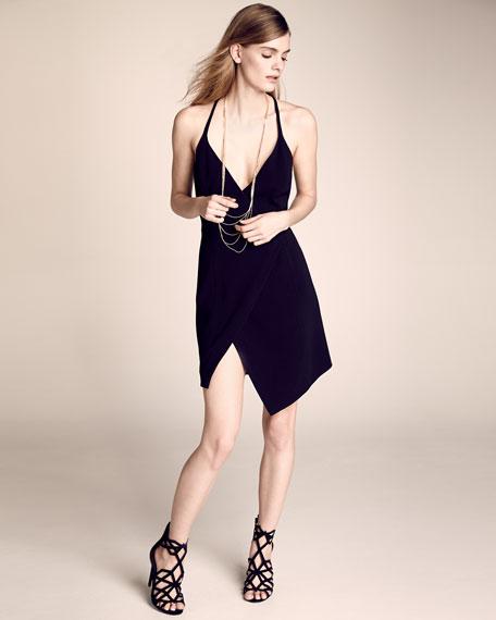 Sleeveless V-Neck Split-Hem Dress, Black