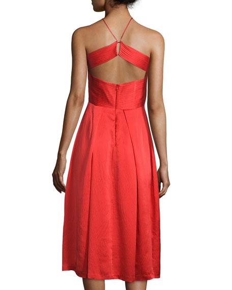Sleeveless Pleated-Bodice Dress, Poppy Red