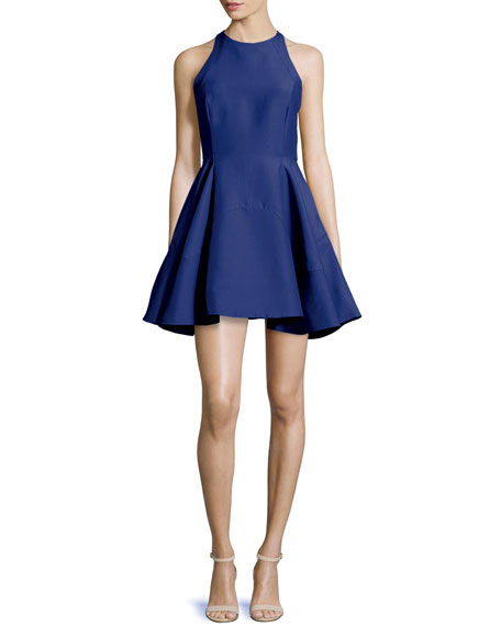Halston Heritage Sleeveless Jewel-Neck Party Dress, Cobalt