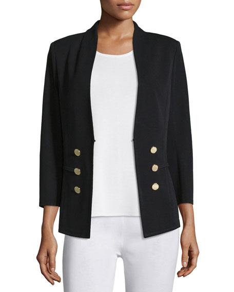 Misook Petite 3/4-Sleeve Button-Front Jacket