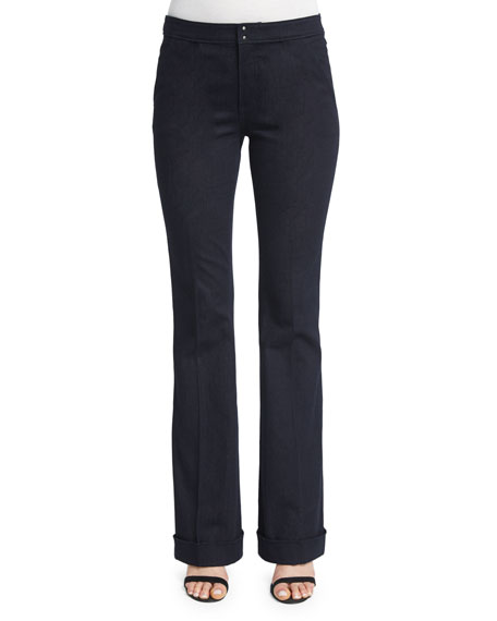 Elie Tahari Bailee Mid-Rise Flared Jeans, Dark Night