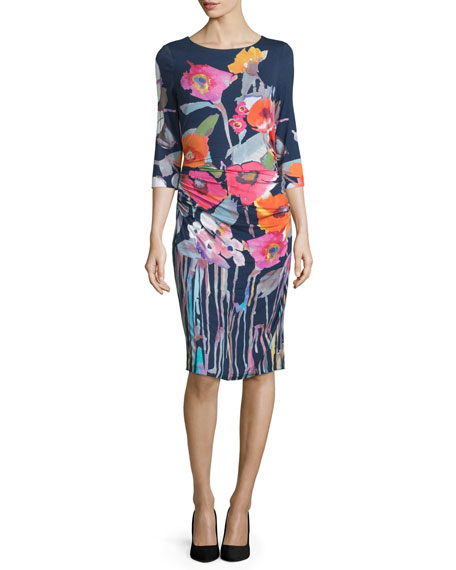 Kay Unger New York 3/4-Sleeve Floral-Print Sheath Dress,