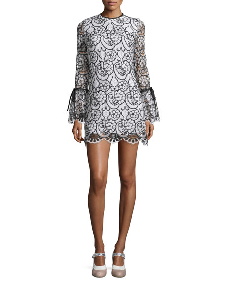 Alexis Rustam Lace Mini Dress, Black/White