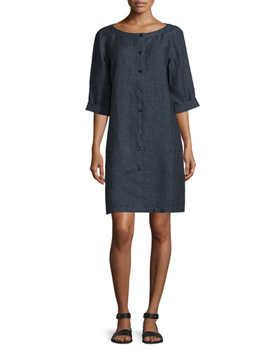Organic Linen Button-Front Dress, Denim, Petite