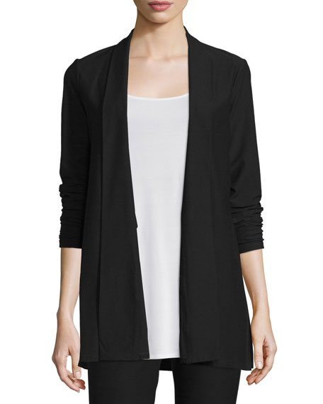 Washable Stretch Crepe Long Jacket, Petite