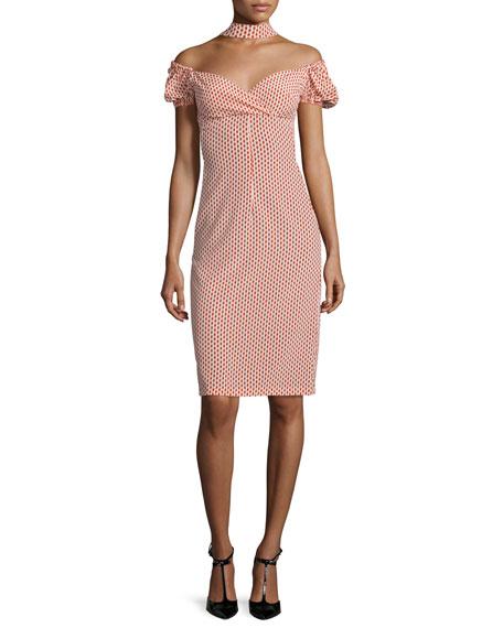 Alexis Eboney Polka-Dot Off-the-Shoulder Midi Dress, Red/White