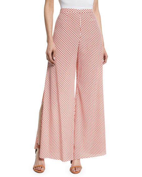 Alexis Fiorello Wide-Leg Polka-Dot Pants, Red/White