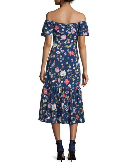 Rebecca Taylor Cap-Sleeve Floral Silk Midi Dress, Blackberry