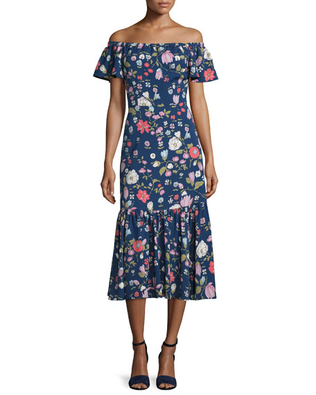 Rebecca Taylor Cap-Sleeve Floral Silk Midi Dress, Blackberry