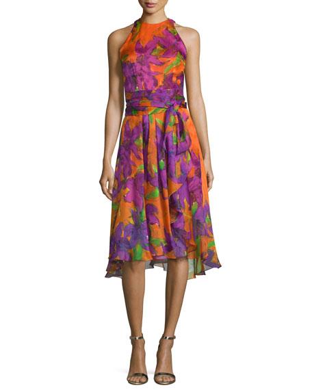 Carmen Marc Valvo Sleeveless Floral-Print Silk Dress, Violet