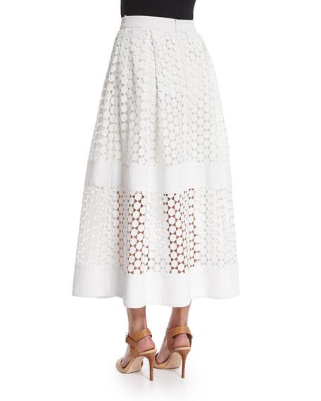 Geometric-Lace Ball Skirt, White