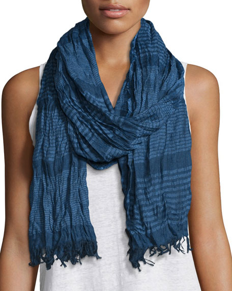 Eileen Fisher Crinkle-Stripe Modal/Wool Scarf, Bluebell