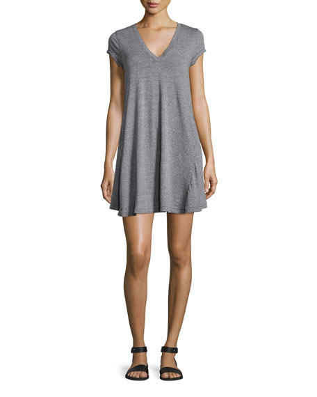 The V-Neck Trapeze Dress, Heather Grey