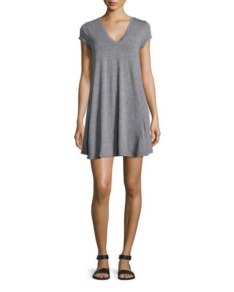 Current/Elliott The V-Neck Trapeze Dress, Heather Grey