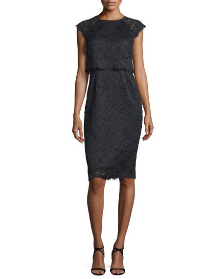Shoshanna Cap-Sleeve Popover Lace Dress, Jet