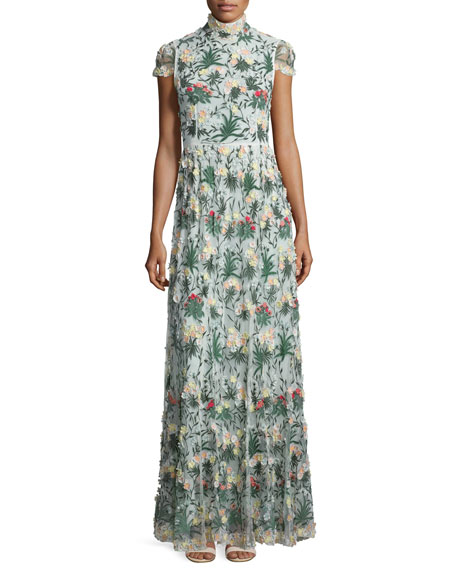Alice + Olivia Arwen Short-Sleeve Embroidered Gown