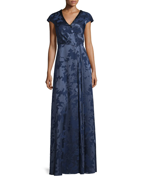 Kay Unger New York Cap-Sleeve Floral Jacquard Gown