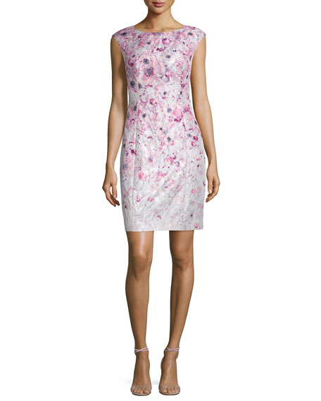 Kay Unger New York Cap-Sleeve Floral-Printed Cocktail Sheath
