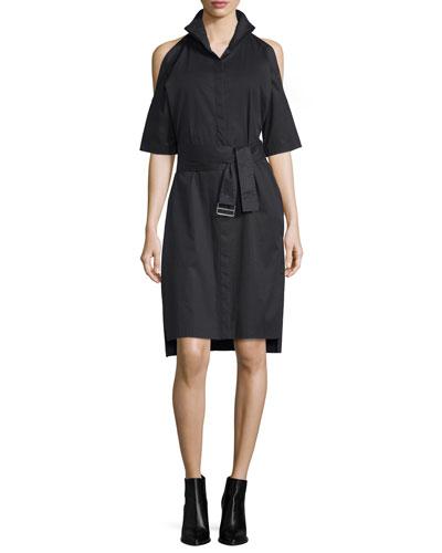 Poplin Cold-Shoulder Shirtdress, Black