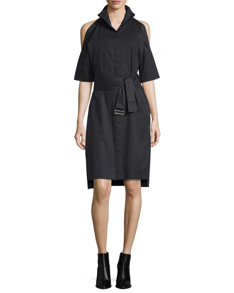 DKNY Poplin Cold-Shoulder Shirtdress, Black