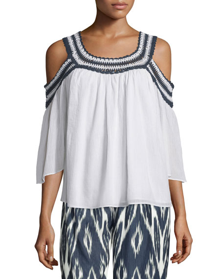 Calypso St Barth Hazel Cold-Shoulder Crochet-Trim Top, Multi