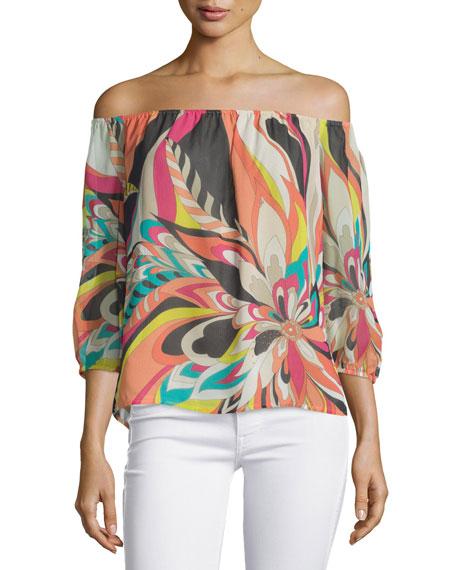 Trina Turk Off-The-Shoulder Floral-Print Top, Multi Colors