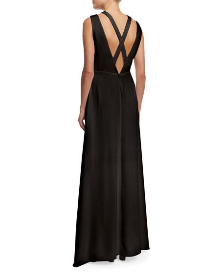 Sleeveless Crisscross A-Line Gown, Black