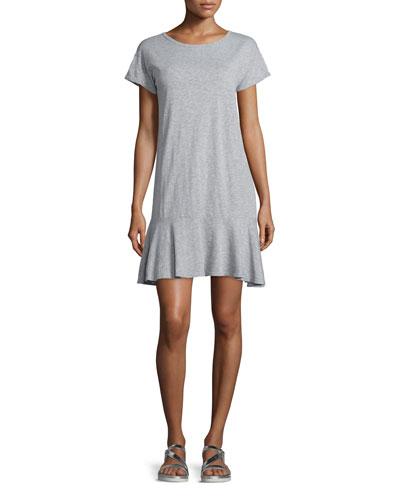 Salome Short-Sleeve Flounce-Hem Dress, Gray