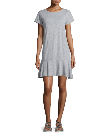 Velvet Salome Short-Sleeve Flounce-Hem Dress, Gray
