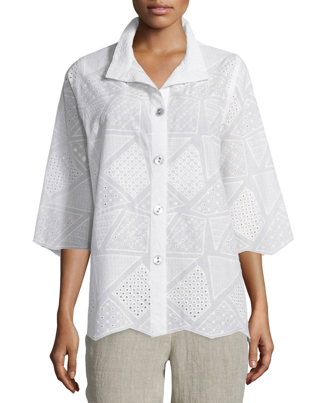 12fb9c27a Caroline Rose Patchwork Cotton Eyelet Shirt | Neiman Marcus