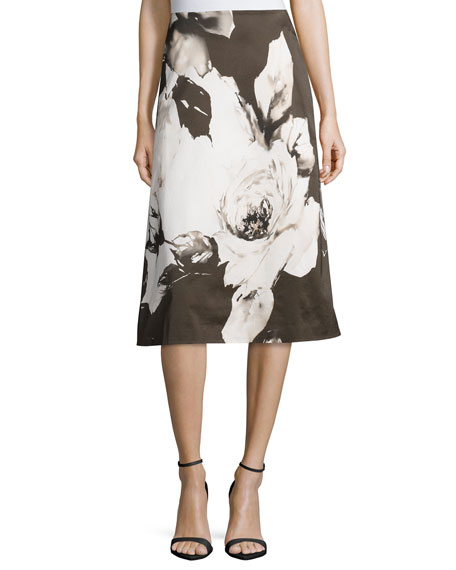 Lafayette 148 New York Zarita Floral-Print Skirt, Cloud/Multi